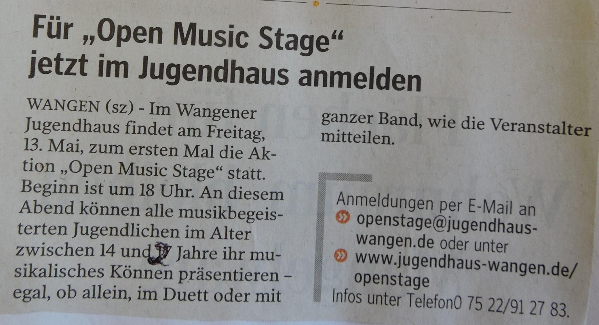 Anmeldung open music stage