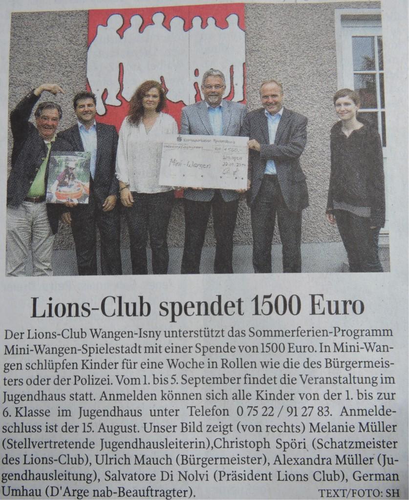 Artikel LionsClub Spende