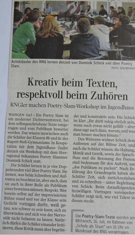Artikel Poetry Slam Workshop