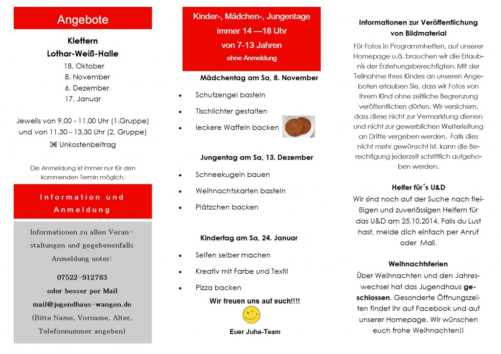 Kinderprogramm Okt.- Jan. 14-15-2
