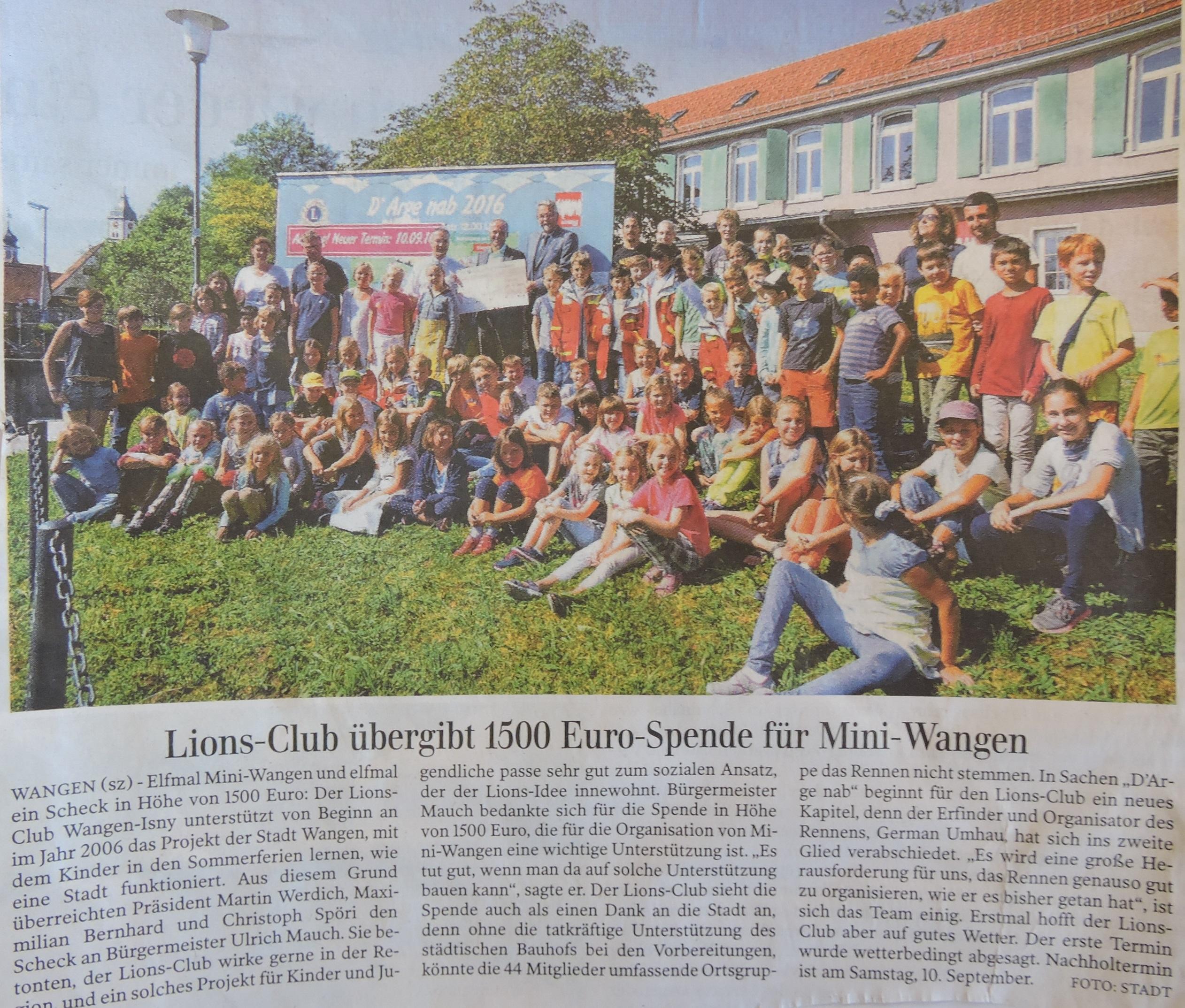 Lions Club Übergabe Scheck
